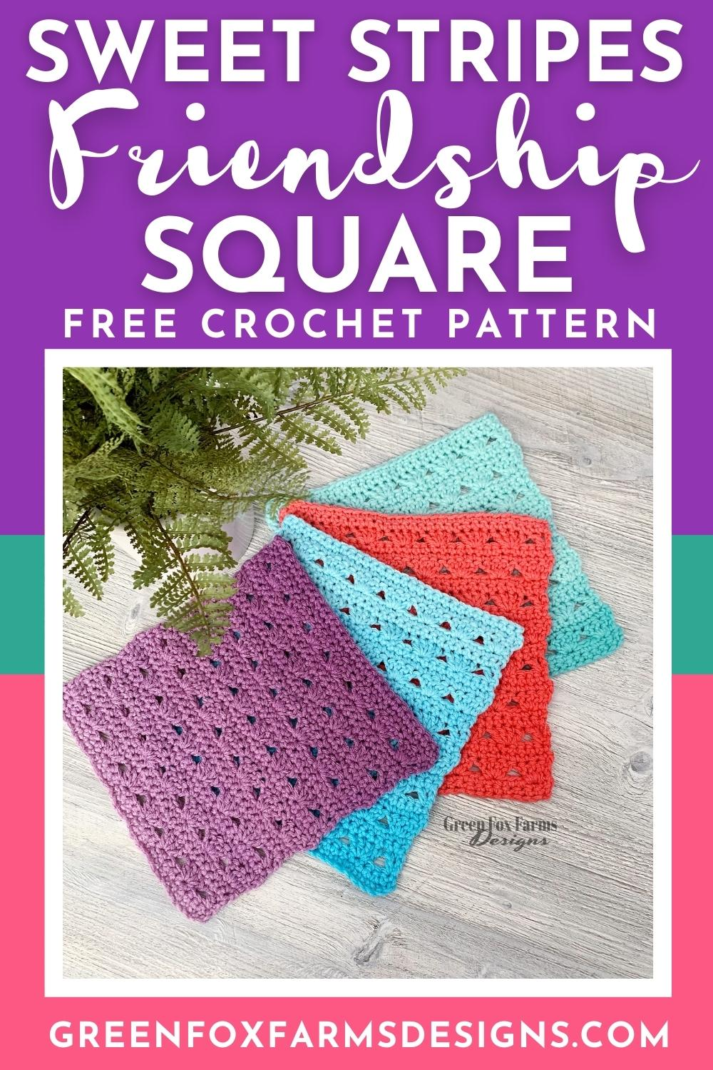 Sweet Stripes Friendship Square Crochet Pattern image with colorful crocheted afghan squares in purple, blue, coral, and mint green by www.greenfoxfarmsdesigns.com