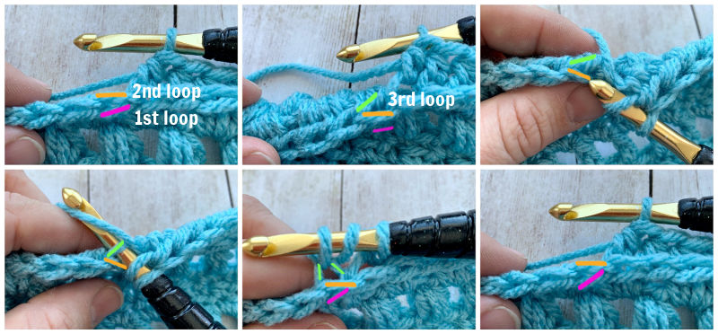 photo tutorial how to hdc half double crochet in third 3rd loop by www.greenfoxfarmsdesigns.com