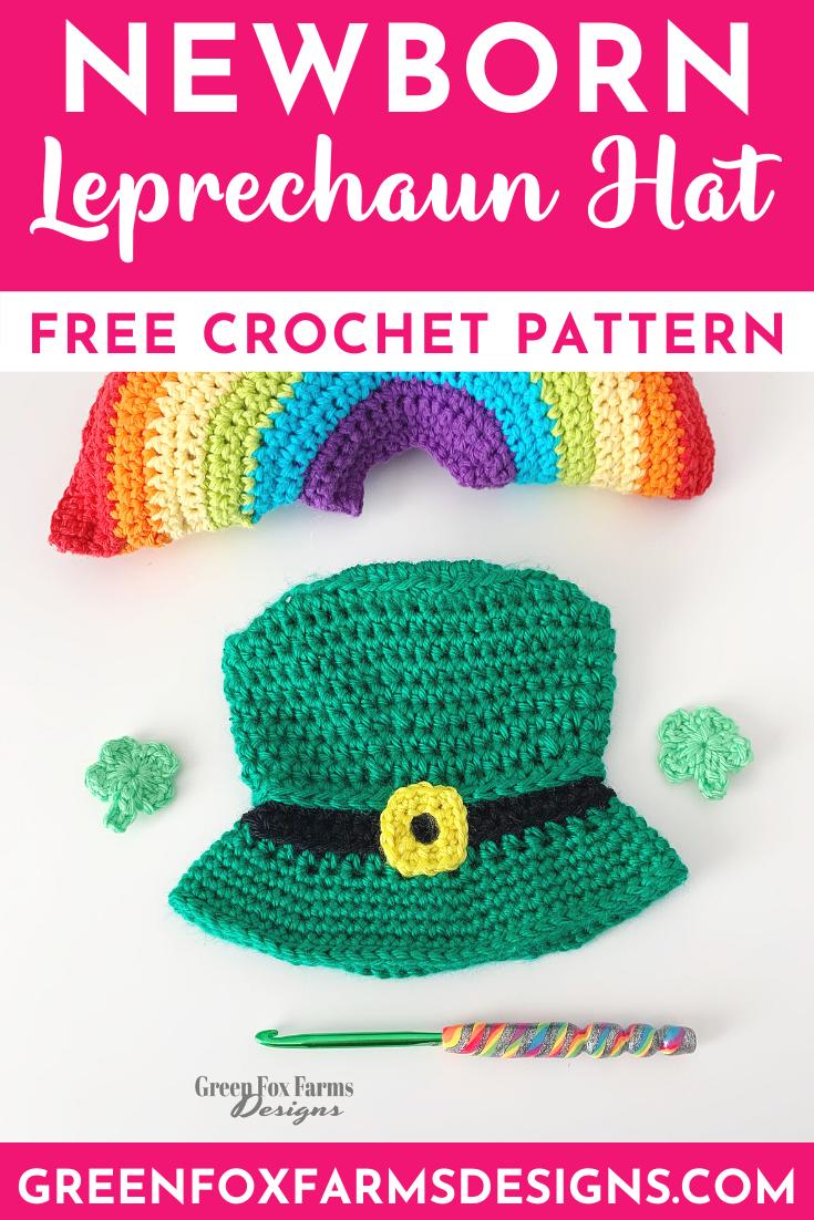Newborn Leprechaun Hat Free Crochet Pattern Green Crochet Baby Hat pattern by www.greenfoxfarmsdesigns.com