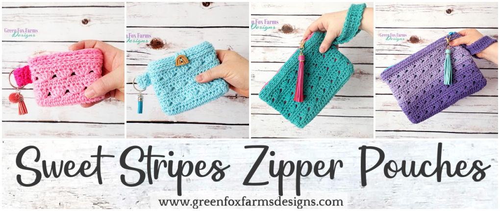 Sweet Stripes Zipper Pouches Pattern